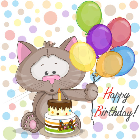 Illustration pour Greeting card Cat with balloons and cake - image libre de droit