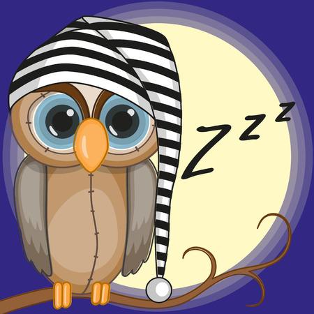 Ilustración de Sleepy owl in a cap - Imagen libre de derechos