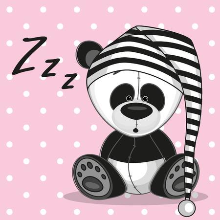 Illustration pour Sleeping panda in a cap - image libre de droit