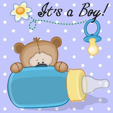 Illustration pour Teddy Bear with feeding bottle - image libre de droit