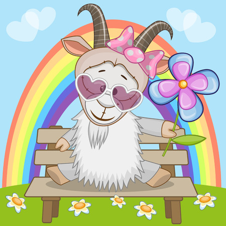 Illustration pour Greeting card Goat with flower - image libre de droit