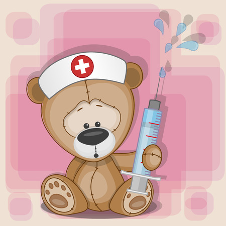 Illustration pour Teddy Bear nurse keep a syringe in his hand  - image libre de droit