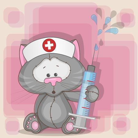 Illustration pour Cat nurse with a syringe in his hand  - image libre de droit
