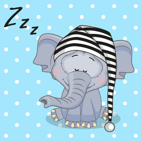 Illustration pour Sleeping Elephant in a cap  - image libre de droit