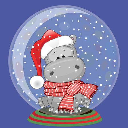 Illustration for Christmas illustration of cartoon Bear in a Santa's hat in a glass bowl - Royalty Free Image