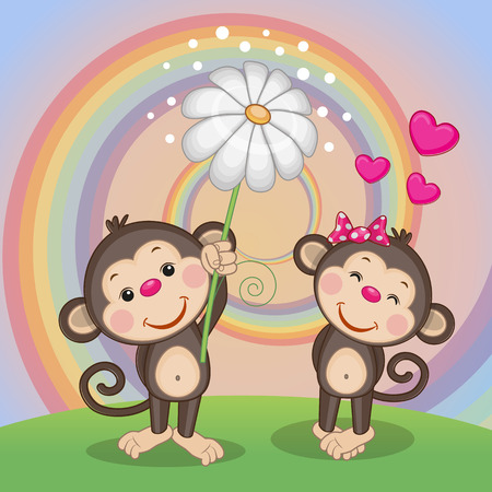 Illustration pour Valentine card with two Monkeys on a meadow - image libre de droit