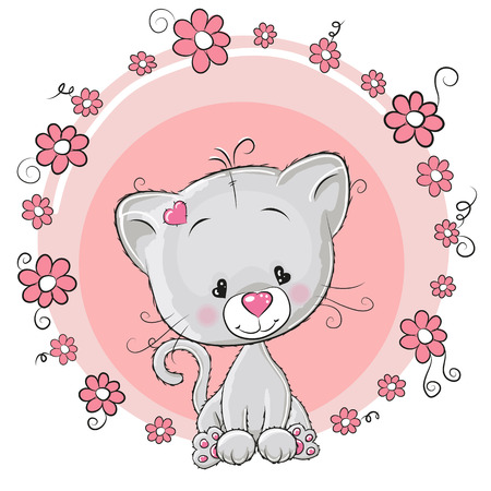Illustration pour Greeting card Kitten with flowers - image libre de droit