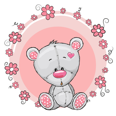 Illustration pour Greeting card Teddy Bear with flowers - image libre de droit