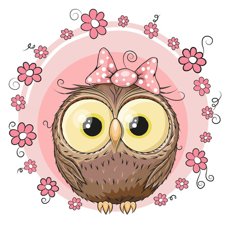 Illustration pour Greeting card owl with flowers on a pink - image libre de droit
