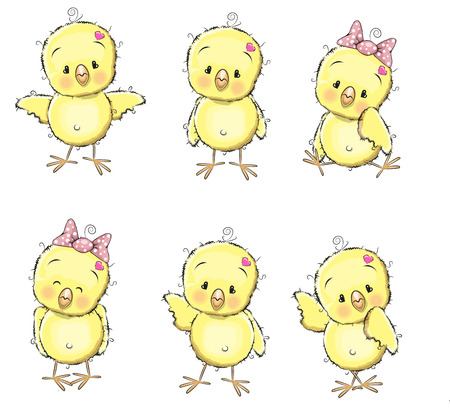 Illustration pour Six cute chicks isolated on a white background - image libre de droit