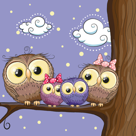 Ilustración de Four owls mother, father, son and daughter is sitting on a branch - Imagen libre de derechos