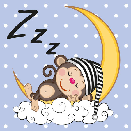 Illustration pour Cute Monkey is sleeping on the moon - image libre de droit