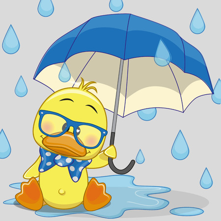 Illustration pour Greeting card Duck with umbrella - image libre de droit
