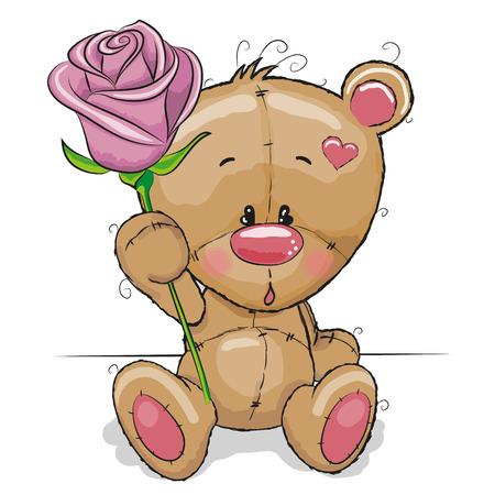 Illustration pour Greeting card Teddy Bear with flower - image libre de droit