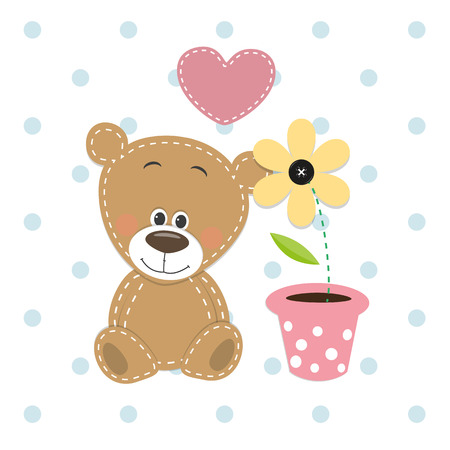 Illustration pour Greeting card Cute Teddy Bear with heart and flower  - image libre de droit