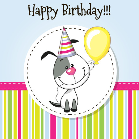 Illustration pour Greeting card Cute Dog with balloon and bonnet - image libre de droit