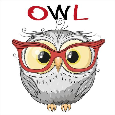 Ilustración de Cute Owl isolated on a white background - Imagen libre de derechos