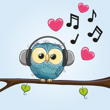 Ilustración de Cute cartoon Owl with headphones - Imagen libre de derechos