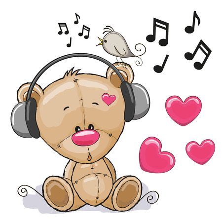 Ilustración de Cute cartoon Teddy Bear with headphones - Imagen libre de derechos