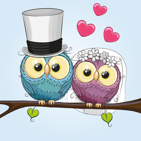 Foto de Owl Bride and Owl groom on a brunch - Imagen libre de derechos