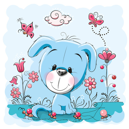 Illustration pour Cute dog with flowers and butterflies on a meadow - image libre de droit