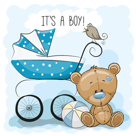 Illustration pour Greeting card it's a boy with baby carriage and Teddy Bear - image libre de droit