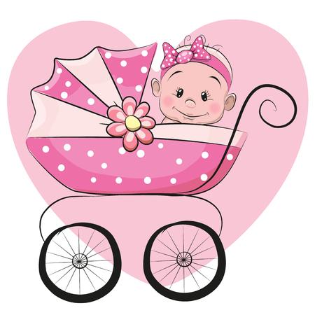 Ilustración de Cute Cartoon Baby girl is sitting on a carriage on a heart background - Imagen libre de derechos