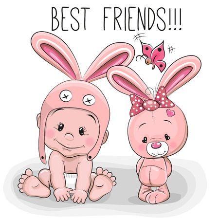 Illustration pour Cute Cartoon Baby in a bunny hat and pink bunny - image libre de droit