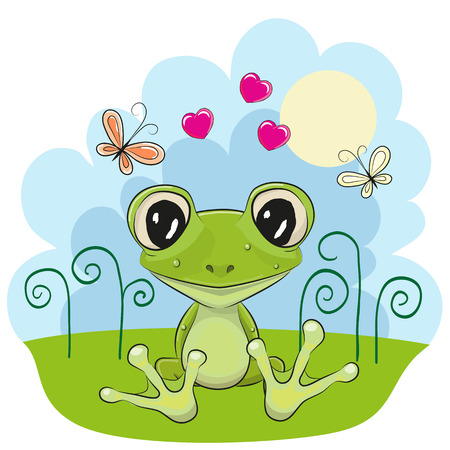 Illustration for Cute cartoon Frog with flowers and butterflies - Royalty Free Image