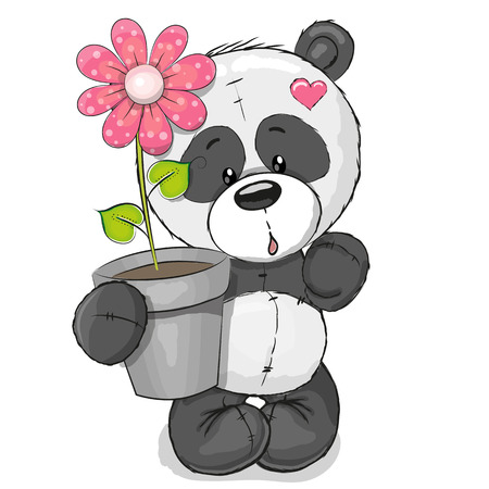 Illustration pour Greeting card cute cartoon Panda with flower - image libre de droit
