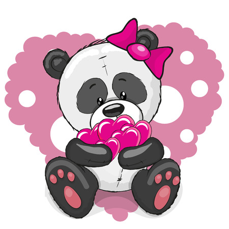 Illustration pour Greeting card cute cartoon Panda girl with hearts - image libre de droit