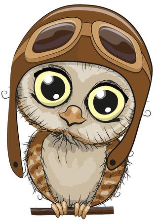 Ilustración de Cute cartoon owl in a pilot hat on a white background - Imagen libre de derechos
