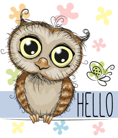 Illustration pour Cute cartoon owl and a butterfly on a floral background - image libre de droit