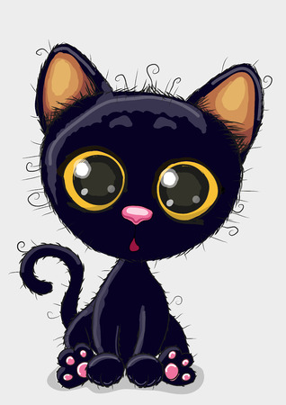 Photo pour Cute Cartoon black kitten on a white background - image libre de droit