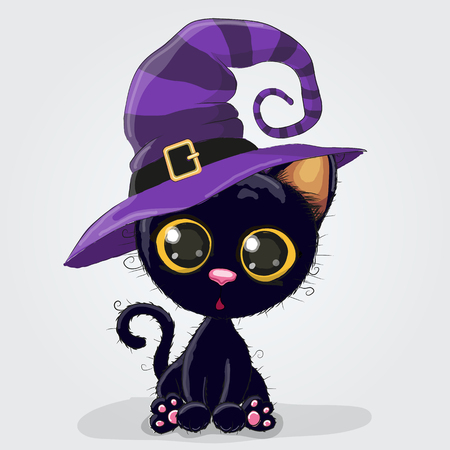 Cute Cartoon black kitten in a halloween hat