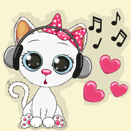 Photo pour Cute cartoon Cow with headphones - image libre de droit
