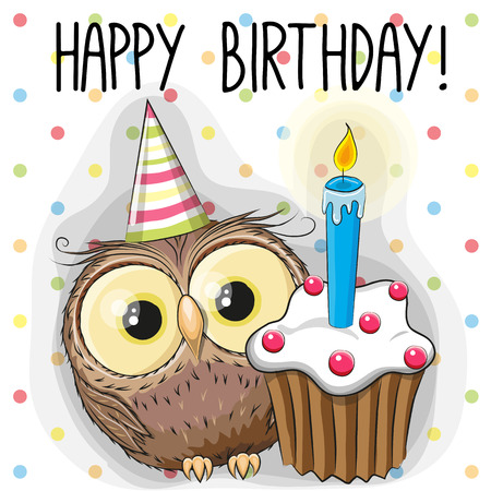 Illustration pour Greeting card cute Cartoon Owl with cake - image libre de droit