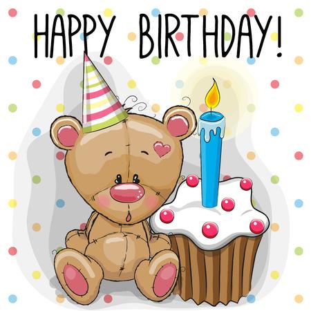 Illustration pour Greeting card cute Teddy Bear with cake - image libre de droit