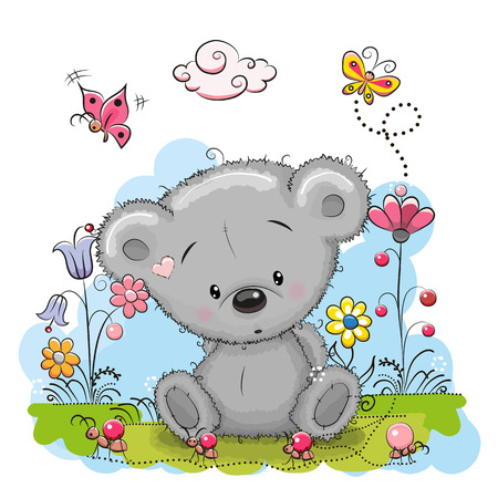 Ilustración de Cute Cartoon Teddy Bear with flowers and butterflies on a meadow - Imagen libre de derechos