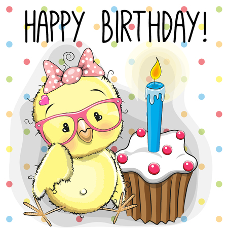 Illustration pour Greeting card cute Cartoon Chicken with cake - image libre de droit