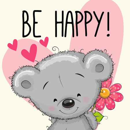 Illustration for Be Happy Greeting card Teddy Bear with hearts and a flower - Royalty Free Image