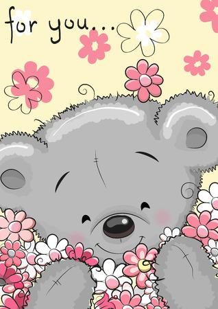 Illustration pour Greeting card Cute Cartoon Teddy bear with flowers - image libre de droit