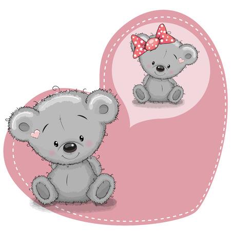 Illustration pour Greeting card Cute cartoon Dreaming Teddy Bear - image libre de droit
