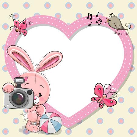 Illustration pour Cute cartoon Rabiit with a camera and a heart frame - image libre de droit