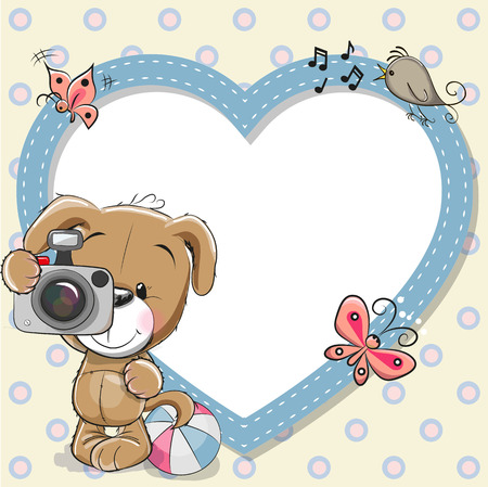 Illustration pour Cute cartoon Puppy with a camera and a heart frame - image libre de droit