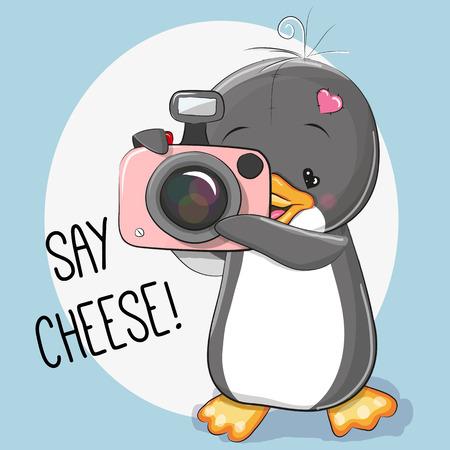 Ilustración de Cute cartoon Penguin with a camera on a gray background - Imagen libre de derechos