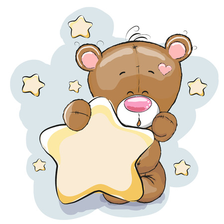 Illustration pour Teddy Bear with Star on a stars background - image libre de droit
