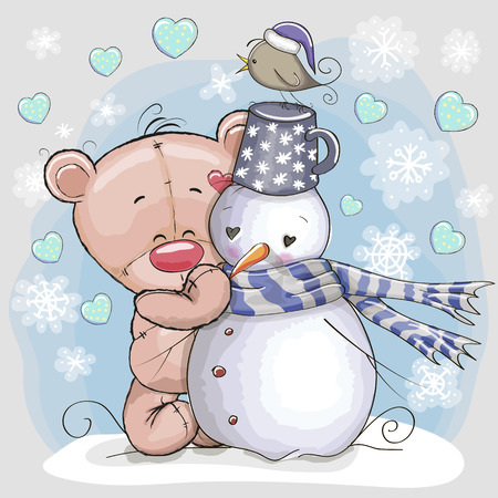 Illustration pour Cute Cartoon Teddy Bear and a Snowman - image libre de droit