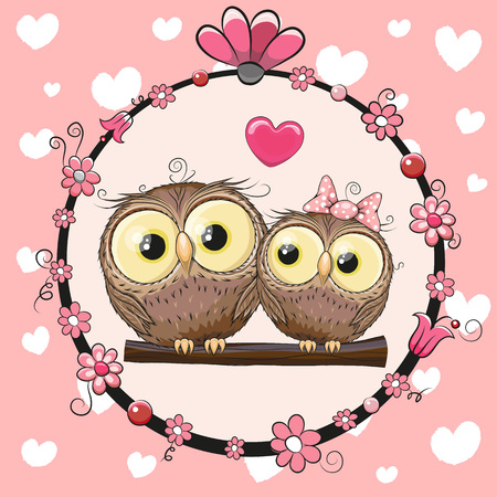 Ilustración de Greeting card with Two cute Cartoon Owls - Imagen libre de derechos