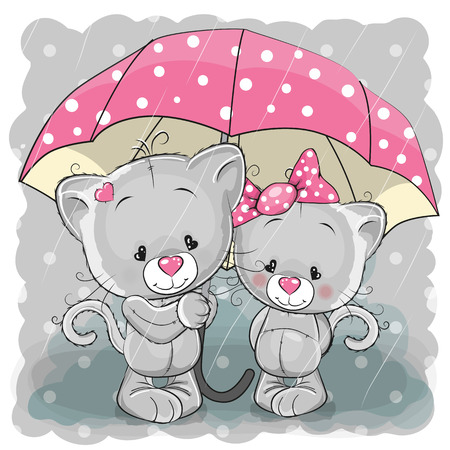 Photo pour Two cute cartoon kittens with umbrella under the rain - image libre de droit